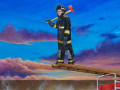 journey of the fireman by painting by Cindy Chinn