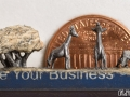 pencil carving of a giraffe family - with penny