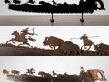 Buffalo Hunt Saw  Metal Art by Cindy Chinn