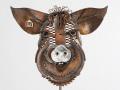Pig Head sculpture  Metal Art by Cindy Chinn