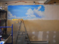 Beach theme Mural for kids rooms - Girl's Room, progress