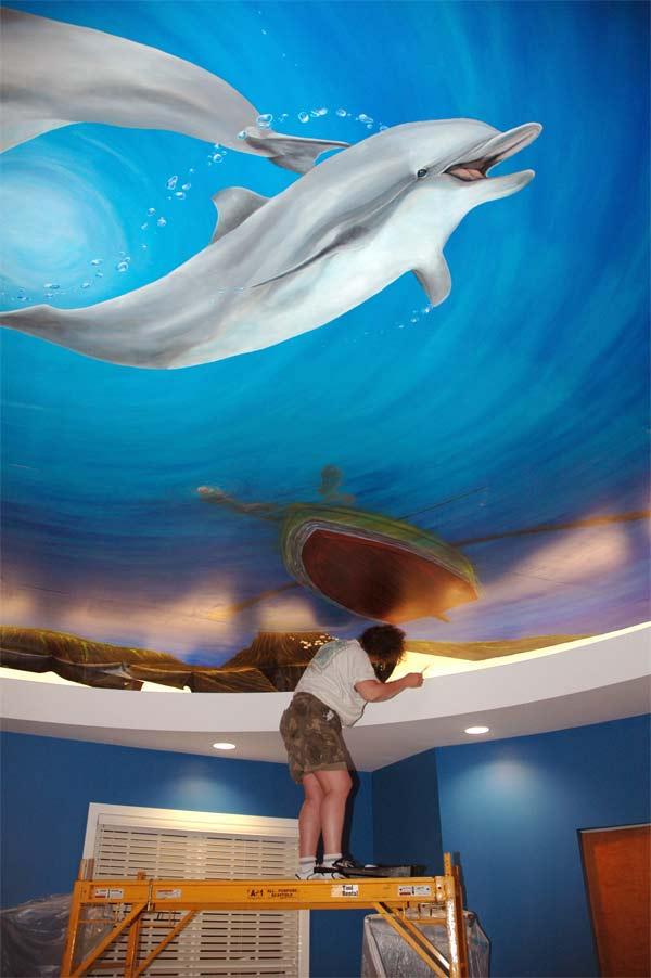 underwater ceiling mural by Cindy Chinn