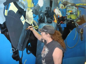 At work in the dive tank!
