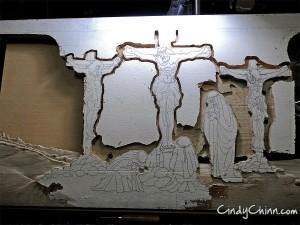 Carved Pew - Crosses