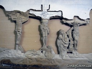 Carved Pew - Crucifixion