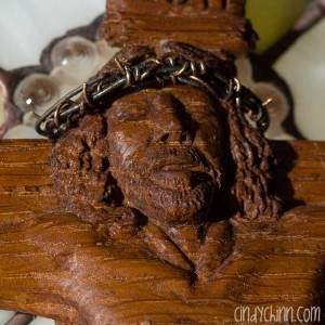 Hand carved church pew christ