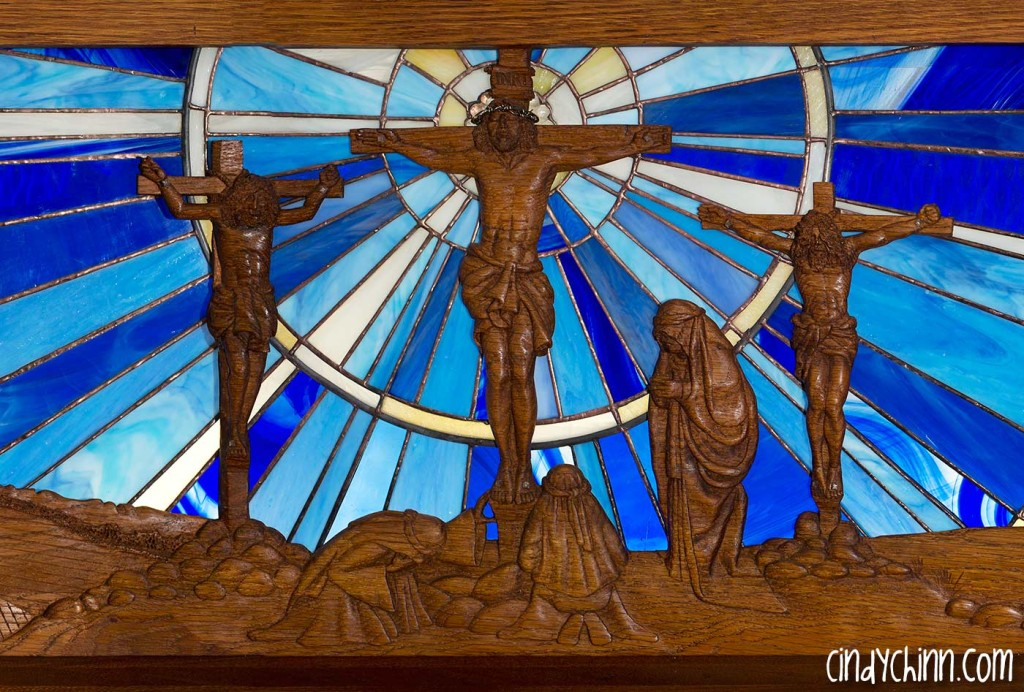 Hand Carved Church Pew - Crucifixion Scene