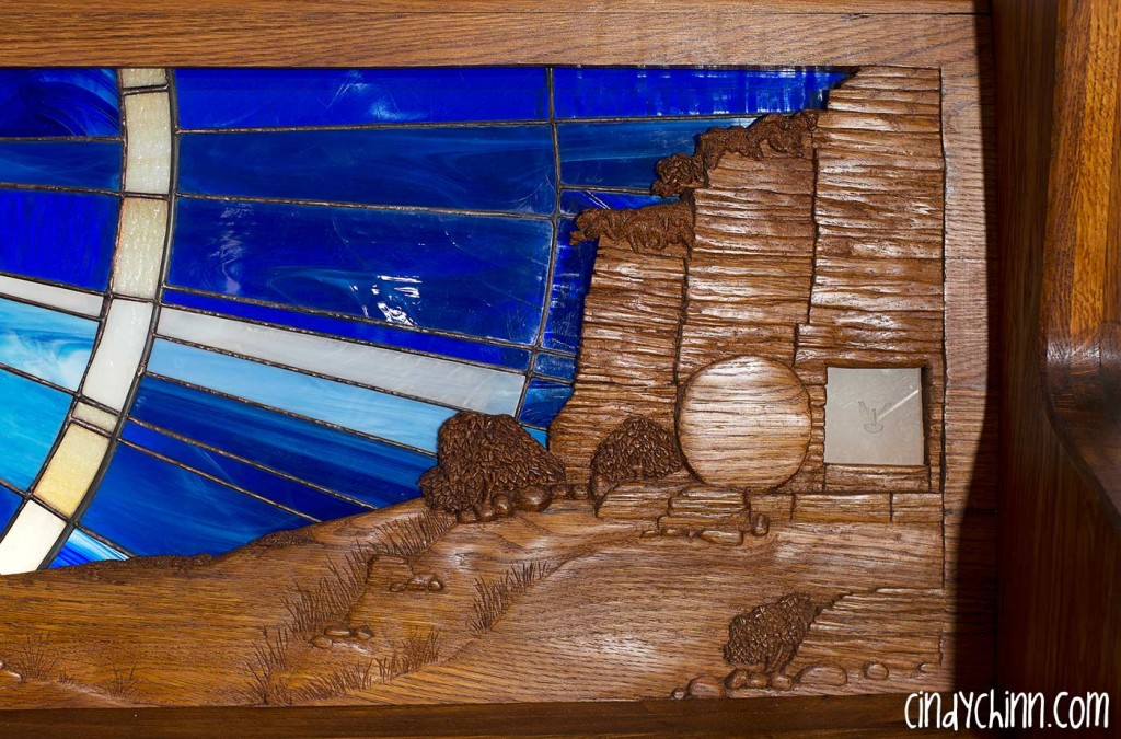Hand Carved Church Pew - Empty Tomb