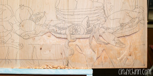 hand carved buffet cherry carving 01