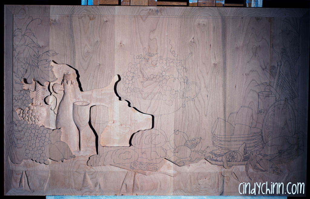 hand carved buffet cherry carving 07