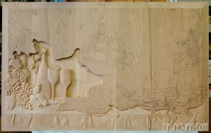 hand carved buffet cherry carving 07a