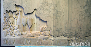 hand carved buffet cherry carving 09