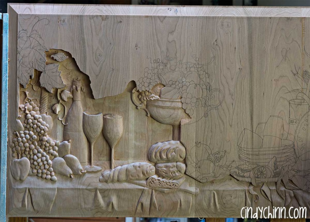 hand carved buffet cherry carving 12