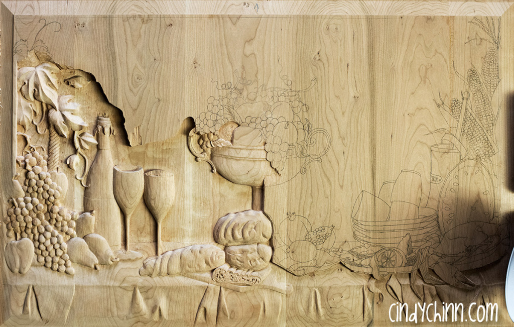 hand carved buffet cherry carving 13