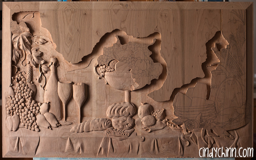 hand carved buffet cherry carving 14