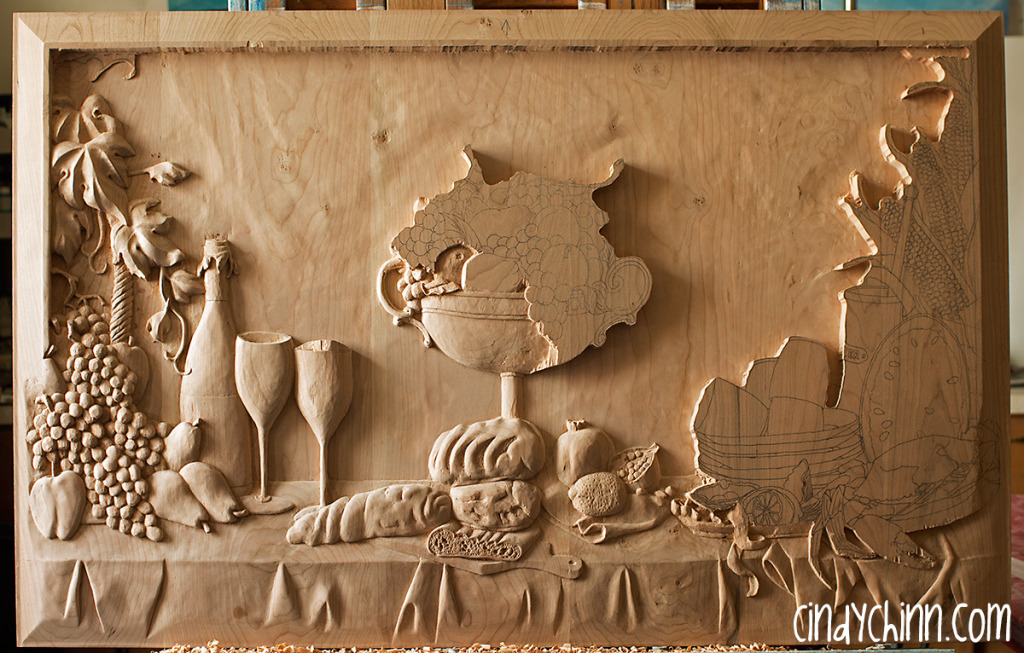 hand carved buffet cherry carving 15