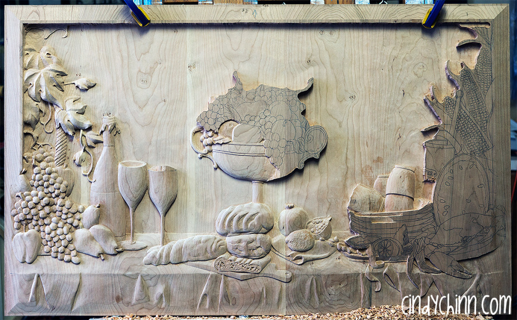 hand carved buffet cherry carving 16