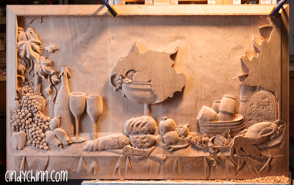 hand carved buffet cherry carving 17
