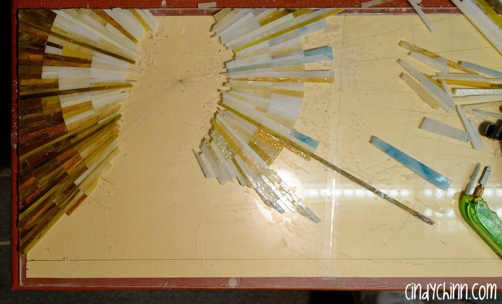 Glass mosaic for hand carved church pew