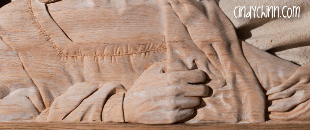 hand carved jesus church pew 04