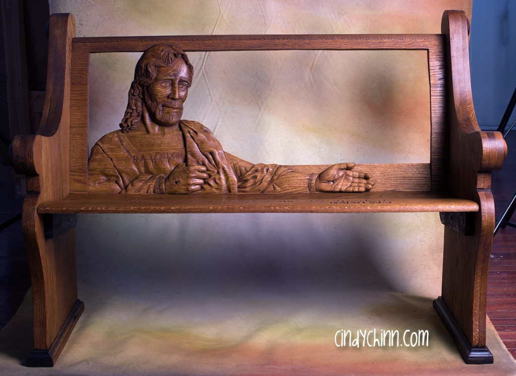 hand carved church pew assembled