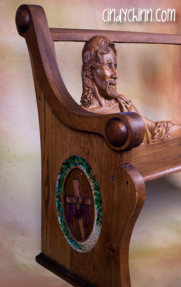 hand carved church pew assembled side