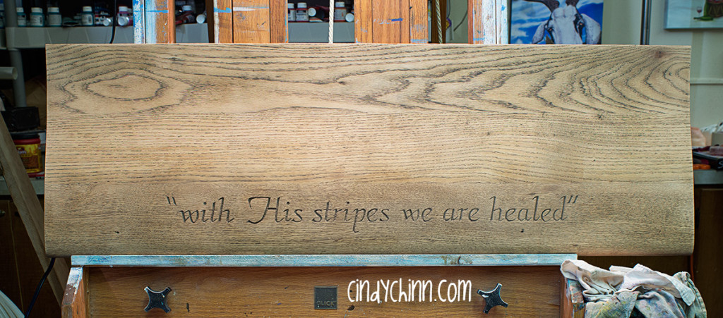 with his stripes we are healed wood carving