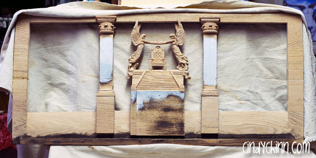hand carved ange church pew unfinished 05