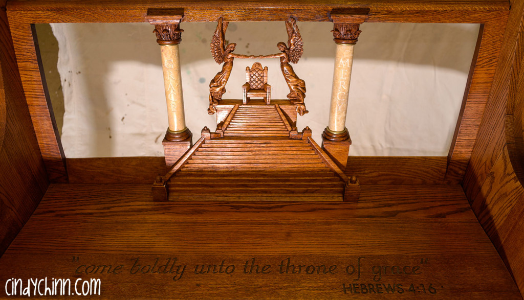 hand carved church pew assembled 03