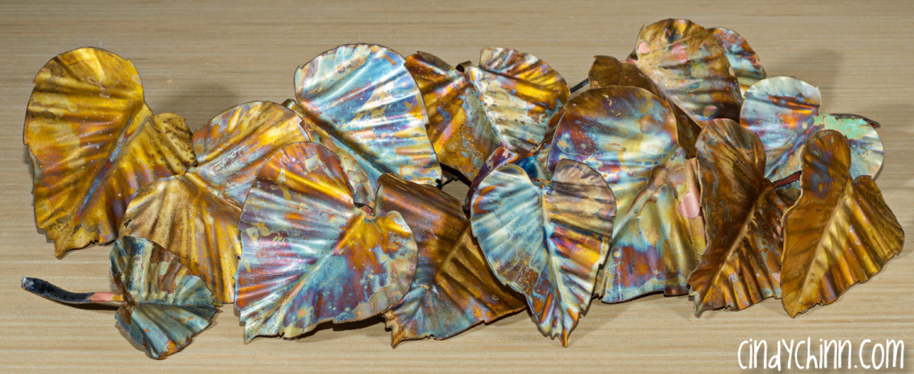 colored brass leaves