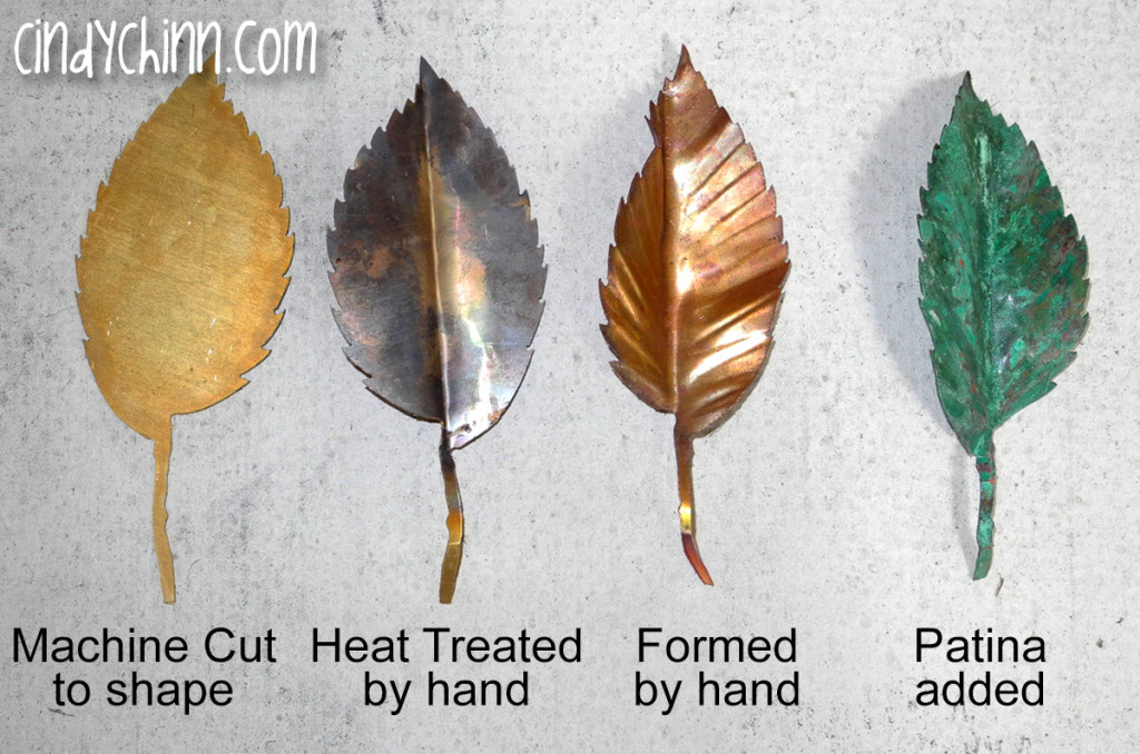 CNC Copper leaves formed and patined