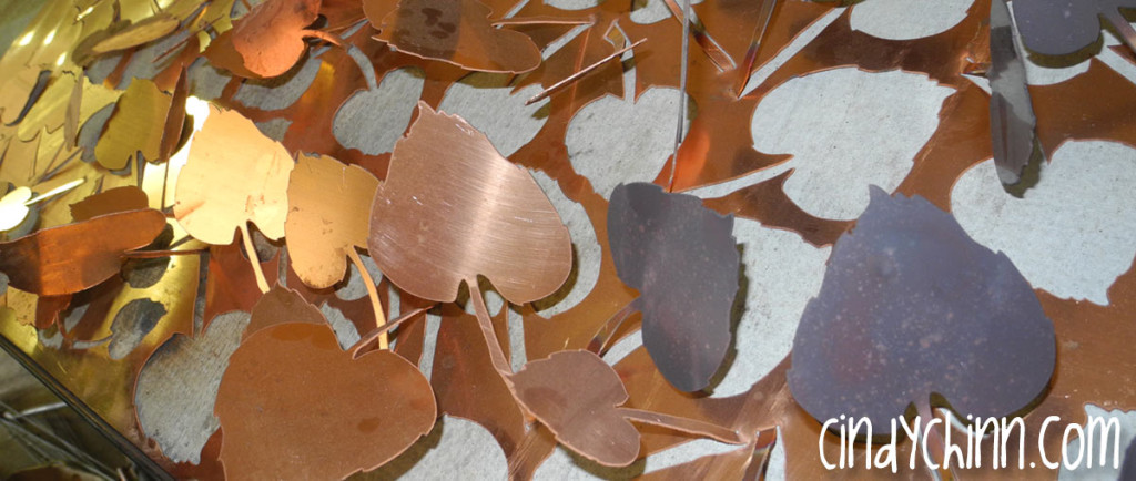 Heat treating copper leaves - Cindy Chinn