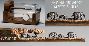 Elephants carved from pencil lead