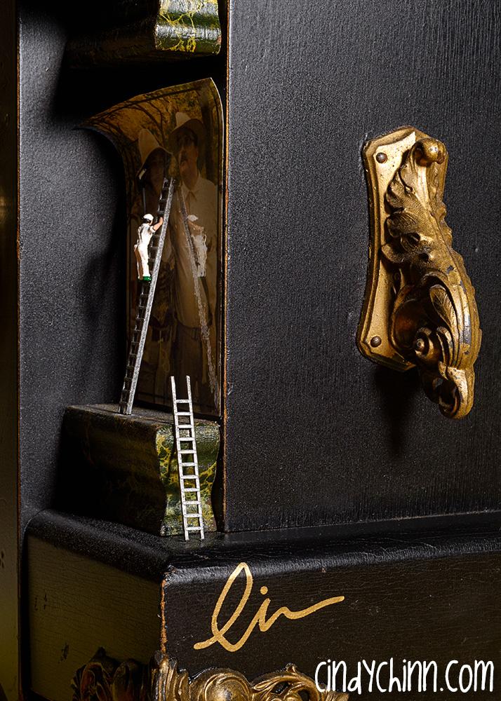 Anniversary Gear Steampunk Clock corner detail