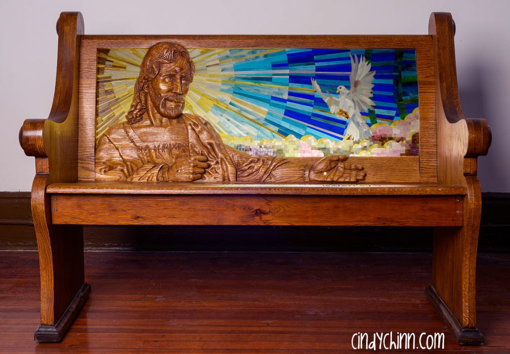 Hand Carved Church Pew by Cindy Chinn