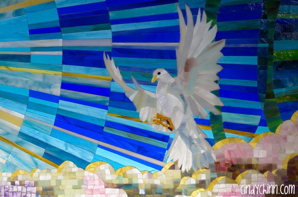 Glass Mosaic of dove by Cindy Chinn
