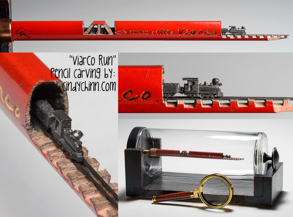 Train carved from a pencil lead by Cindy Chinn - Viarco Run