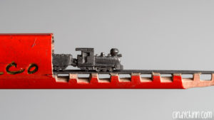 Train carved from a pencil lead by Cindy Chinn