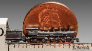 Pencil Carving of a Train by Cindy Chinn