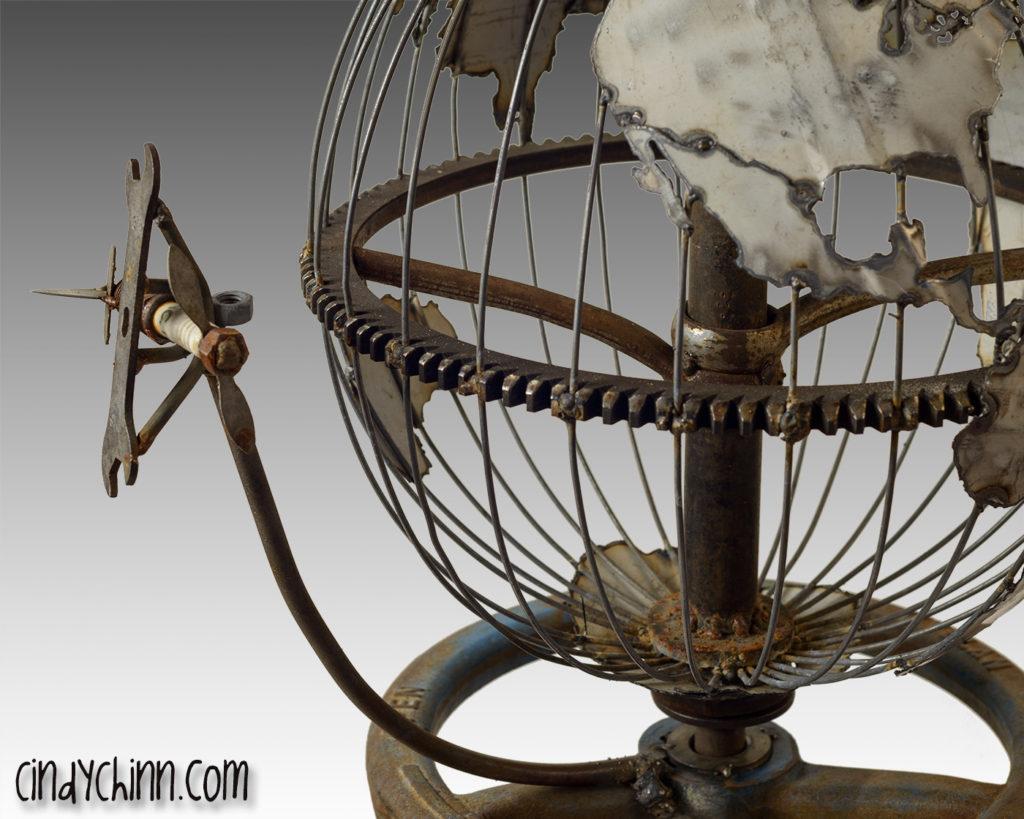 Metal art -plane and globe