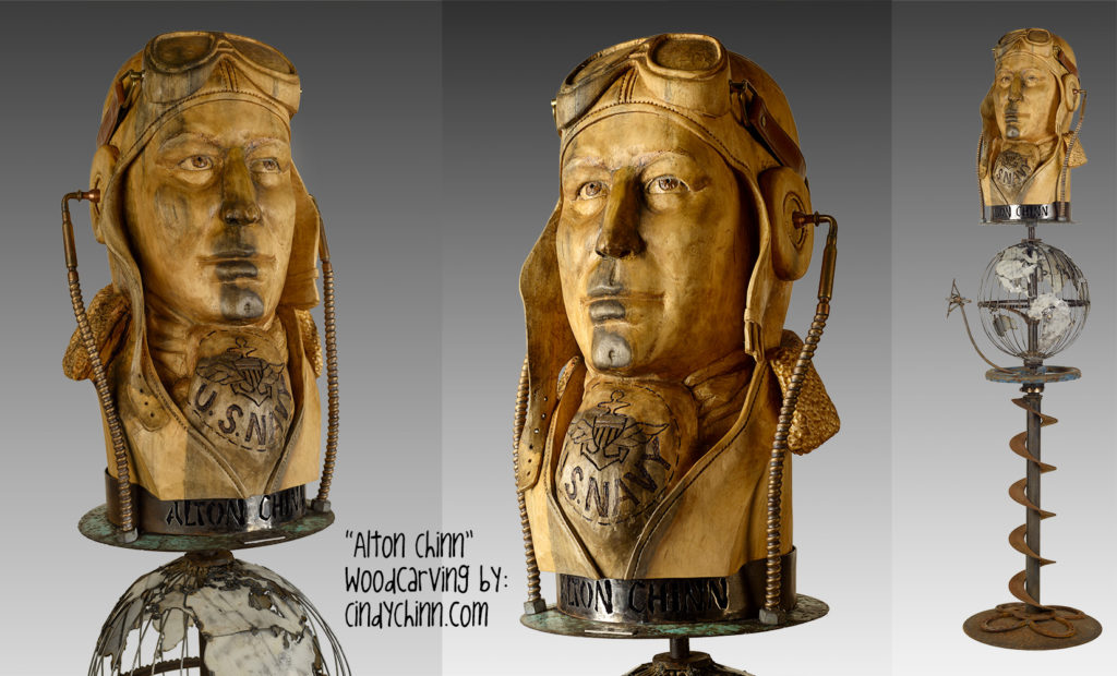 custom wood carving portrait