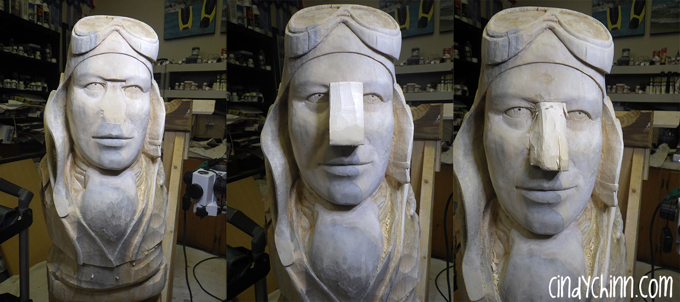 Nose job on a wood carving