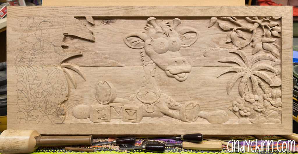 wood toy box josie carving 05