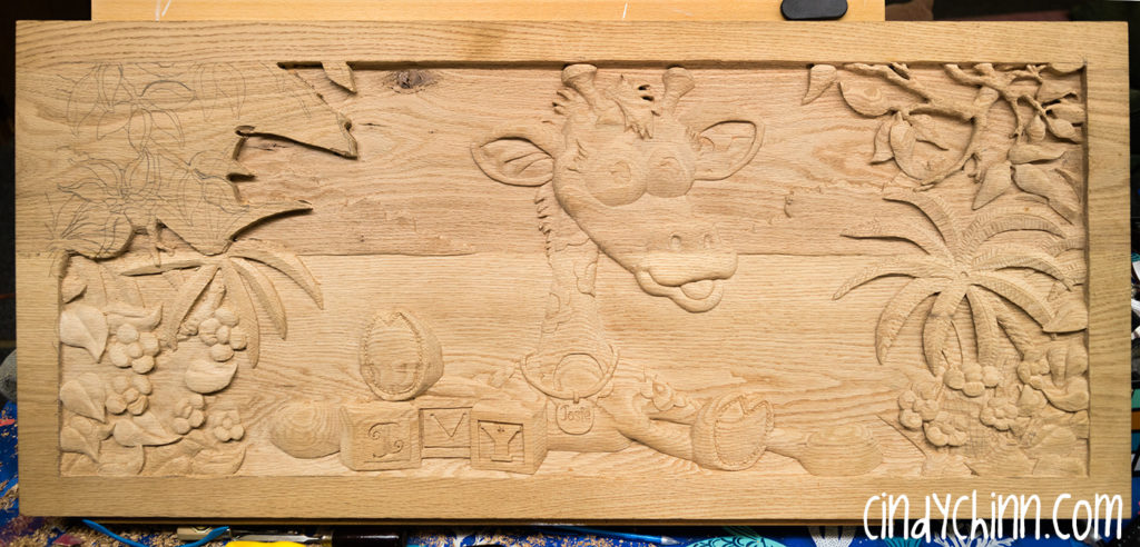 wood toy box josie carving 06