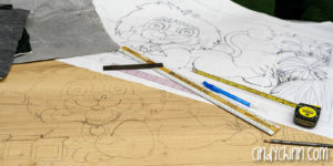 wooden toy box carving drawn design