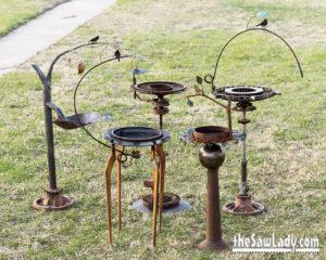 Metal Art Bird Baths by Cindy Chinn
