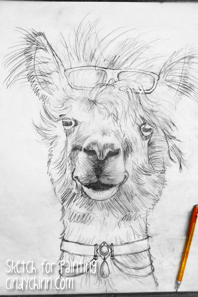 alpaca painting - sketch full