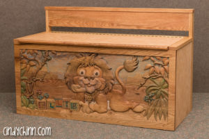 Hand carved toy box - Leo the Lion - Final