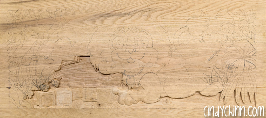 carved toy box Leo 02