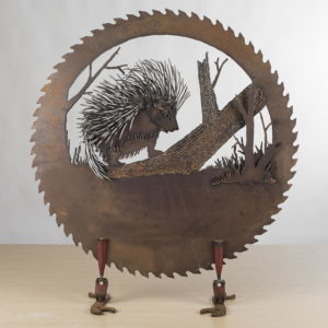 Porcupine Saw Blade Metal Art by Cindy Chinn